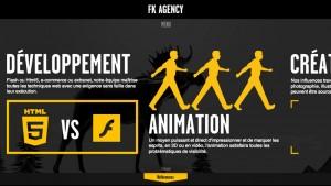業務内容紹介のコーナーでは横にもスクロールし、動きにあわせてそこでもparallax効果のアニメーションが展開。