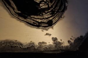 土のなかで躍動するエネルギーを間近に感じられます。 紙のベースだと劣化が早いので、木の板に下地を作って、その上に書いているそうです。