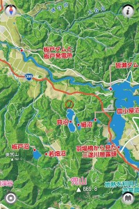 ゆざわジオパークのエリアマップ