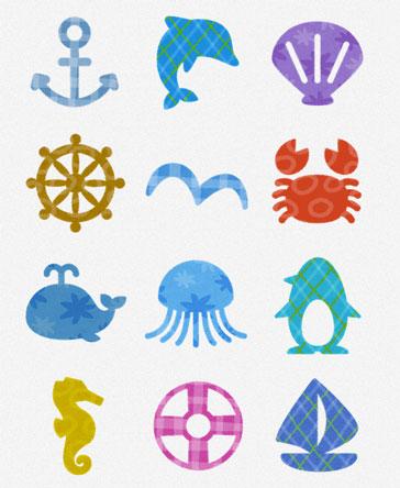 海の日のデザインに使える、夏 ...