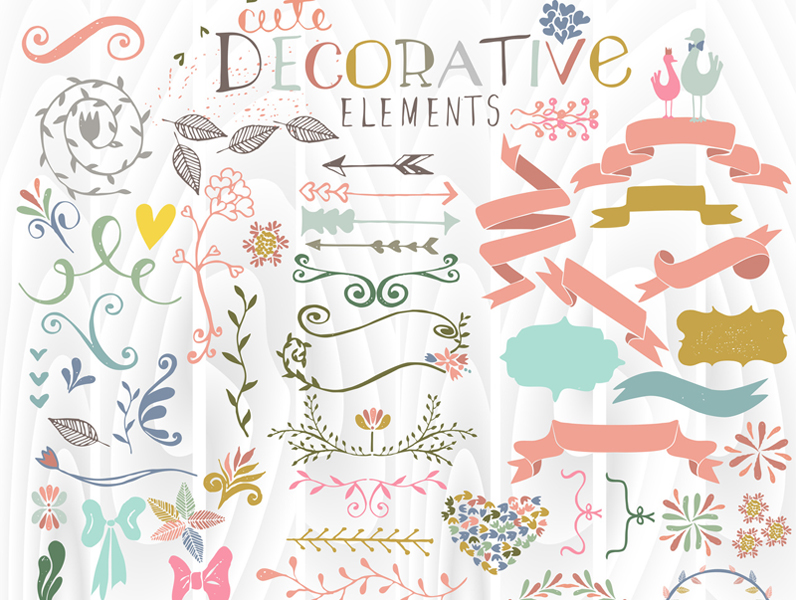 Cute stylish decorative elements vector illustration